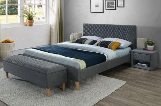 lit double en tissu de qualité azeri, gris, avec sommier à lattes, 160x200