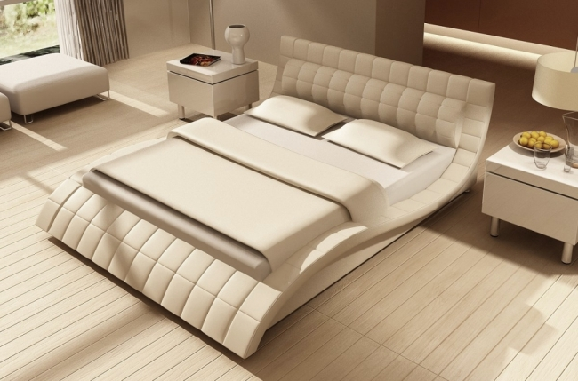 lit design en cuir italien de luxe belia blanc mobilier priv. Black Bedroom Furniture Sets. Home Design Ideas