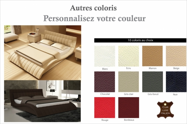 lit design en cuir italien de luxe belia couleur. Black Bedroom Furniture Sets. Home Design Ideas