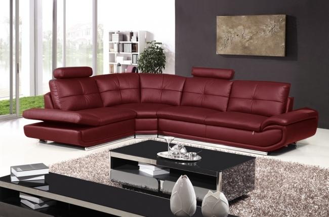 canapé d'angle en cuir buffle italien de luxe 6/7 places bellaligna, couleur bordeaux, angle gauche, avec pouf en cuir