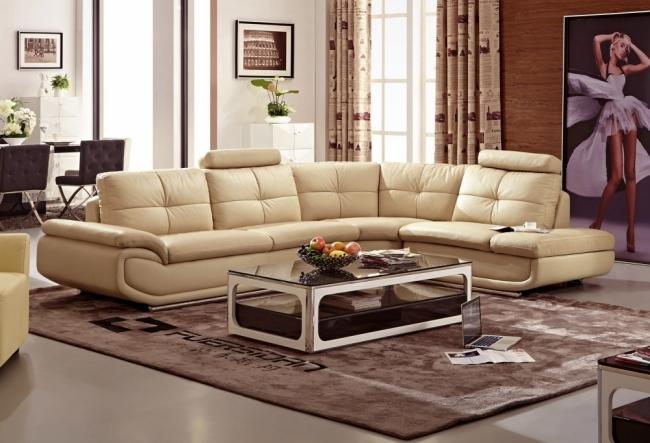 canapé d'angle en cuir buffle italien de luxe 6/7 places bellaligna, beige, angle droit
