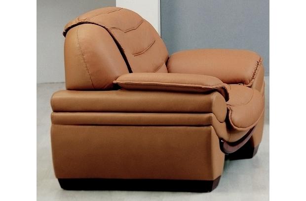 Fauteuil 1 place en cuir italien benson marron mobilier priv - Fauteuil cuir italien ...