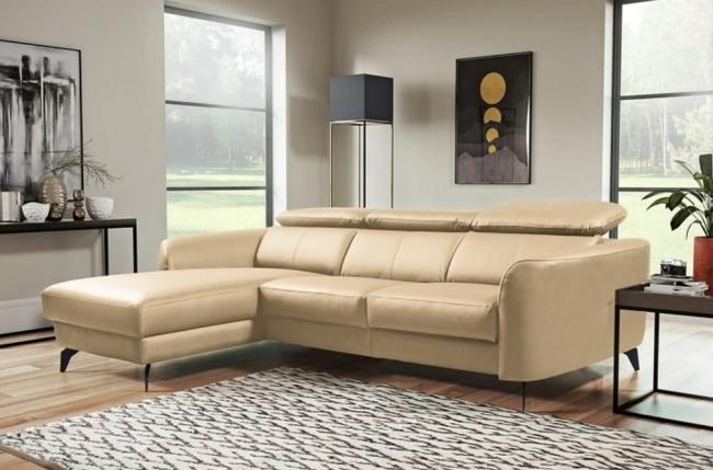 - canapé d'angle en cuir de luxe italien 5 places berti, beige, angle gauche