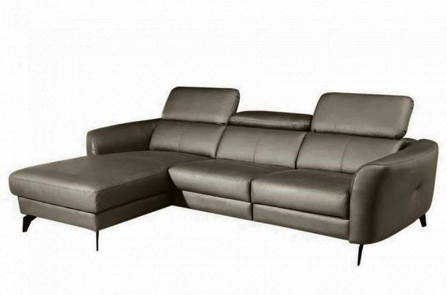 canapé d'angle en cuir de luxe italien 5 places berti, taupe, angle gauche