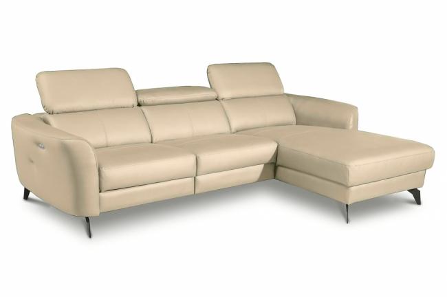 canapé d'angle relax en cuir de luxe italien avec relax électrique, 5 places bertoni, beige, angle droit