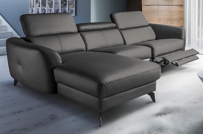 canapé d'angle relax en cuir de luxe italien avec relax électrique, 5 places bertoni, gris foncé, angle gauche