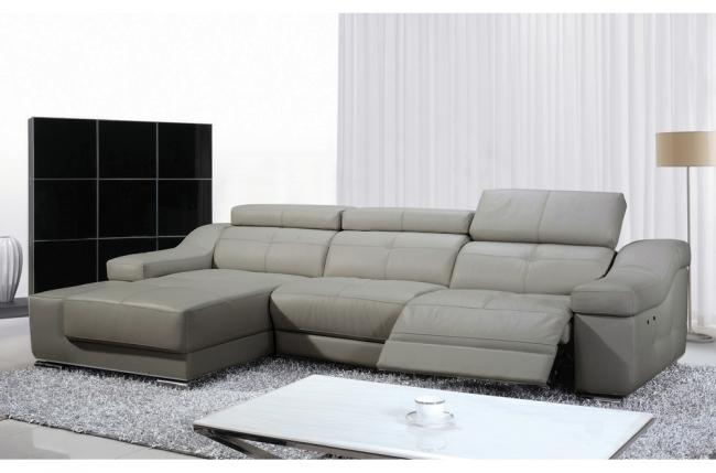 - canapé d'angle double relax en cuir de buffle italien de luxe 5 places birelax, gris clair, angle gauche