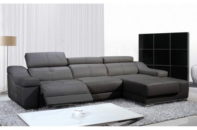 canapé d'angle double relax en cuir de buffle italien de luxe 5 places birelax, gris foncé, angle droit.
