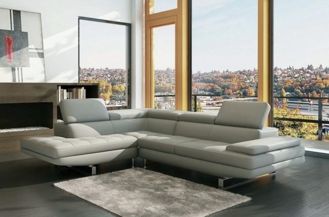 canapé d'angle beauty en cuir haut de gamme italien vachette vénésetti cuir prestige luxe gris clair, angle gauche - vénésetti