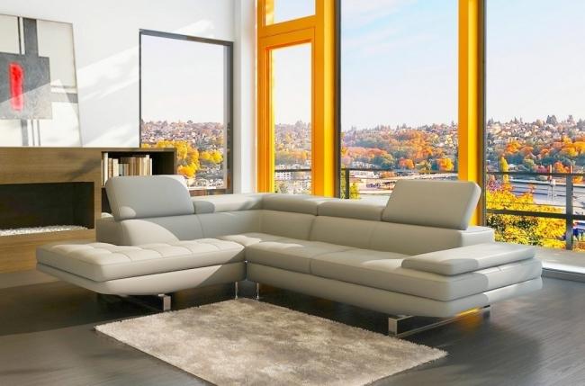 canapé d'angle en cuir italien 6 places birkin, couleur ivoire, angle gauche