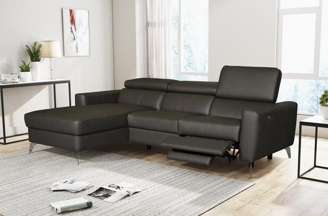 - canapé d'angle en cuir italien de luxe 5 places botero, avec relax électrique, chocolat, angle gauche