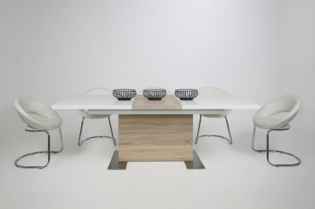 Table manger design laqu blanc brillant et ch ne sonoma rallonge bretini mobilier priv Table rallonge design