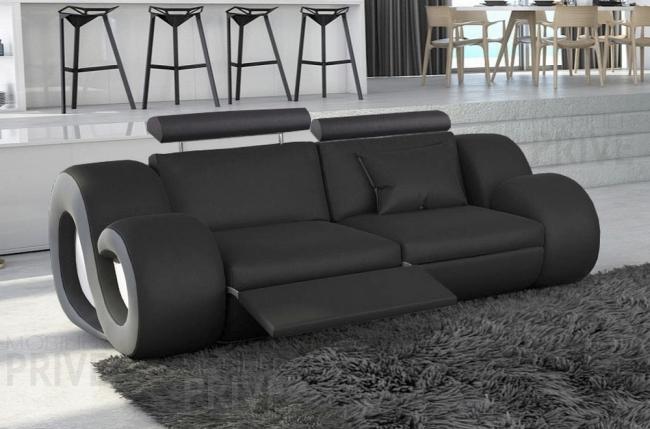 canap 2 places en cuir sup rieur luxe haut de gamme italien monrelax noir et gris mobilier priv. Black Bedroom Furniture Sets. Home Design Ideas
