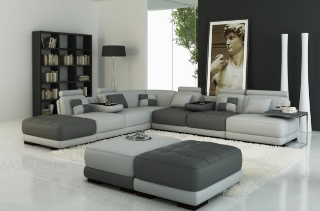 canapé d'angle en cuir italien 6/7 places petit elixir, gris clair et gris foncé, angle gauche