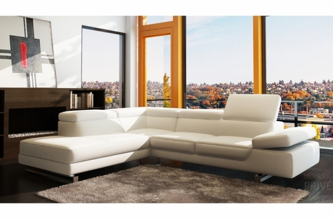 canapé d'angle en cuir italien 5/6 places george, blanc, angle gauche