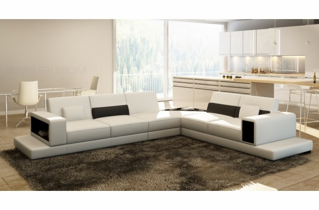 Canap d 39 angle en cuir italien 6 7 places loft blanc for Canape angle 6 7 places