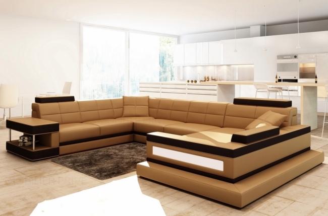 Canap d 39 angle en cuir italien 8 places majestic marron mobilier priv Canape d angle italien