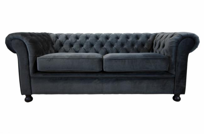 canap 2 places en tissu de qualit chesterfield ardoise mobilier priv. Black Bedroom Furniture Sets. Home Design Ideas