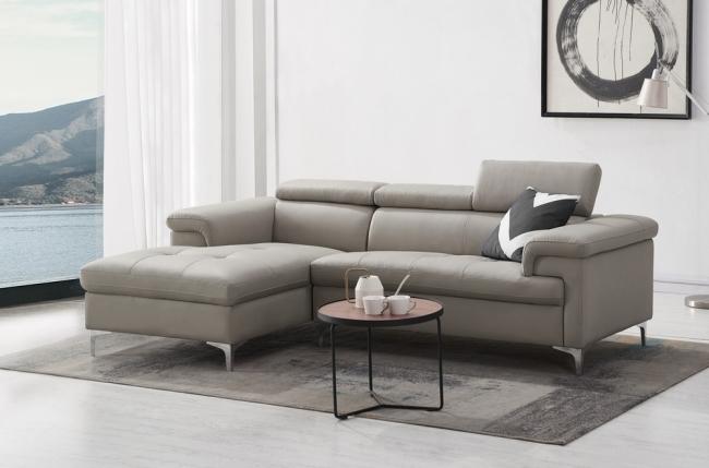 - canapé d'angle en cuir buffle italien de luxe 7 places lido, gris clair, angle gauche