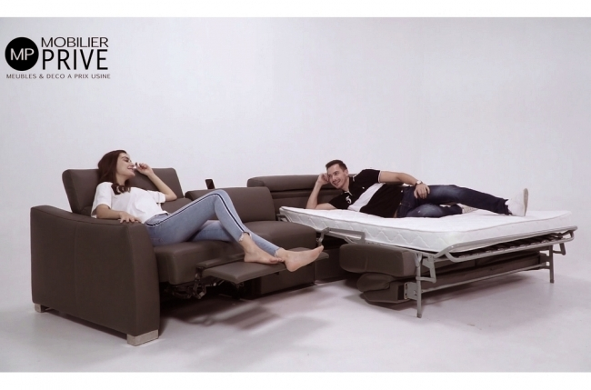 canapé relax et convertible en cuir de buffle italien de luxe 5/6 places yuca, chocolat