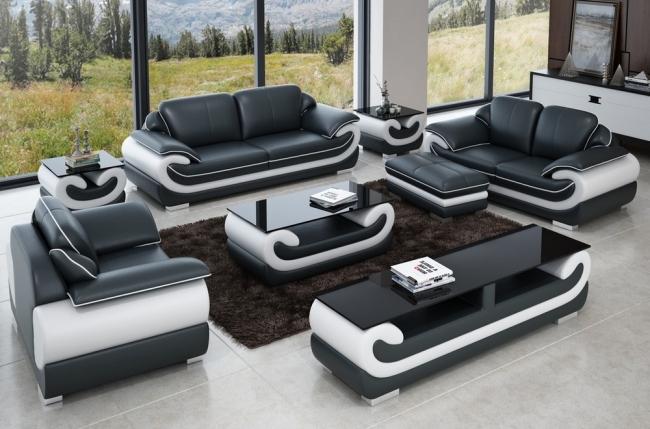 ensemble canapé 3 places et 2 places et fauteuil en cuir italien vachette candide, couleur noir et blanc