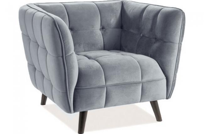 fauteuil 1 place casini en tissu de qualité, couleur gris