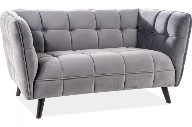 canapé 2 places casini en tissu de qualité, couleur gris