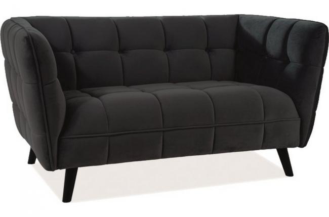 canapé 2 places casini en tissu de qualité, couleur : noir