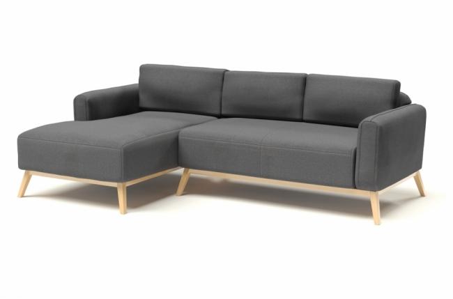 canap d 39 angle en tissu de qualit castel gris mobilier priv. Black Bedroom Furniture Sets. Home Design Ideas