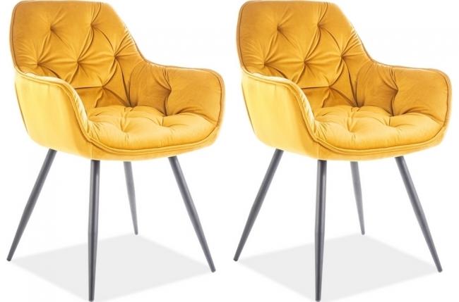 ensemble de 2 chaises cheril  en tissu de qualité, couleur curry