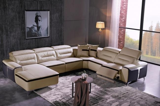 canapé d'angle relax électrique en cuir buffle italien de luxe combirelax,  beige et chocolat, angle droit, table offerte.