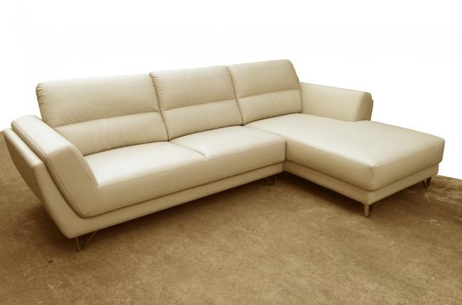 canapé d'angle en cuir buffle italien de luxe 5 places costes, beige, angle droit