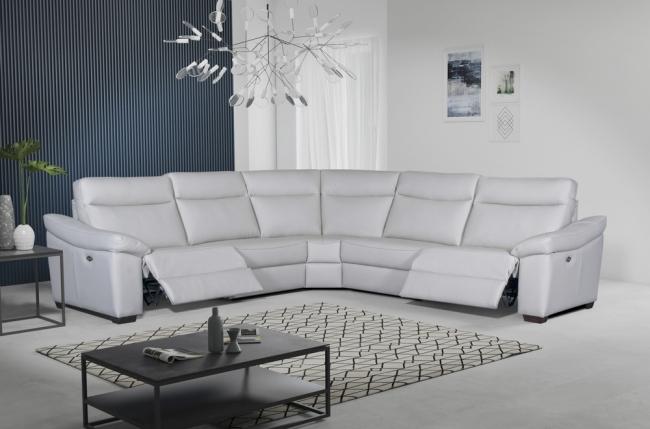 canapé d'angle double relax en 100% tout cuir épais de luxe italien avec 2 relax électrique, 6/7 places, dakota, blanc cassé