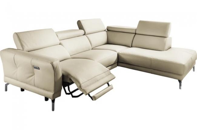canapé d'angle relax en 100% tout cuir épais de luxe italien avec relax électrique, 5/6 places dali, blanc cassé, angle droit