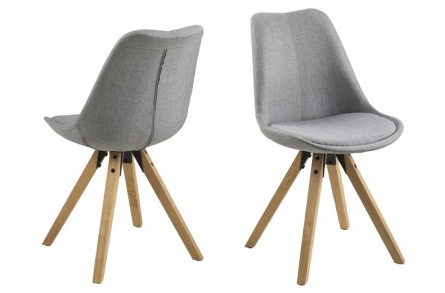 lot de 2 chaises design tissu gris clair avec pieds en bois, dizina