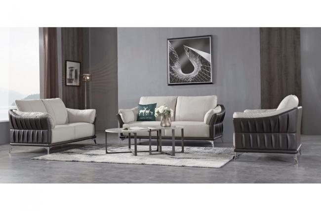 ensemble ensemble canapé 3 places et 2 places et fauteuil en cuir italien buffle dublin, couleur blanc cassé et liseret noir
