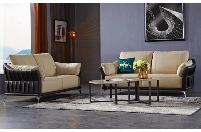 ensemble canapé 3 places et 2 places en cuir italien buffle dublin, couleur beige et liseret chocolat