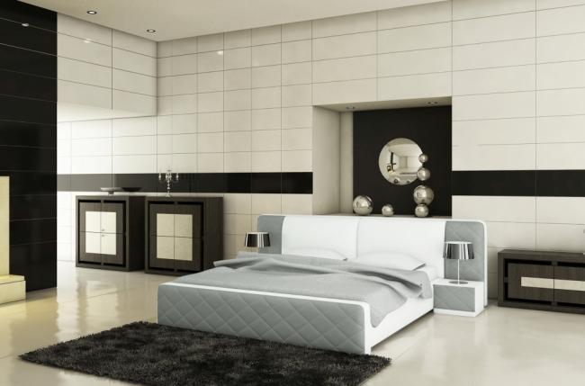 lit en cuir italien de luxe elegance gris clair et blanc mobilier priv. Black Bedroom Furniture Sets. Home Design Ideas
