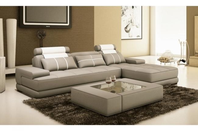 canapé d'angle en 100% tout cuir italien 5 places elixa, gris clair et blanc, angle droit