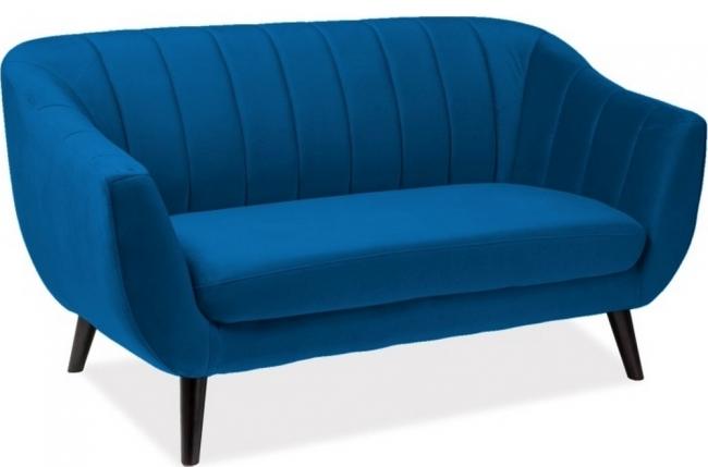 canapé elsa 2 places en tissu de qualité, couleur bleu foncé