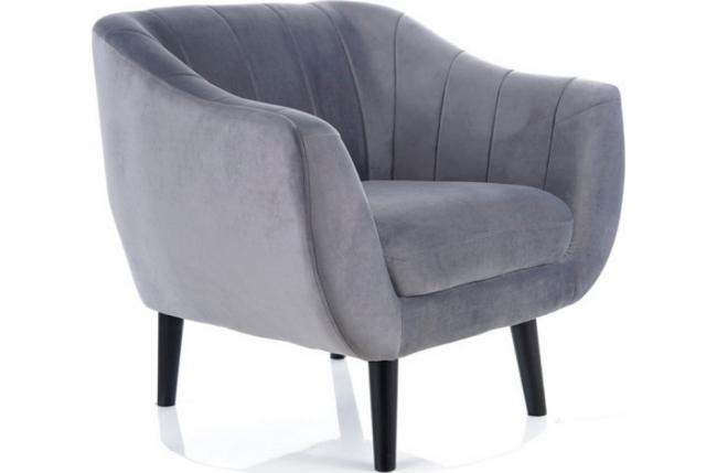 fauteuil elsa 1 place en tissu de qualité, couleur: gris