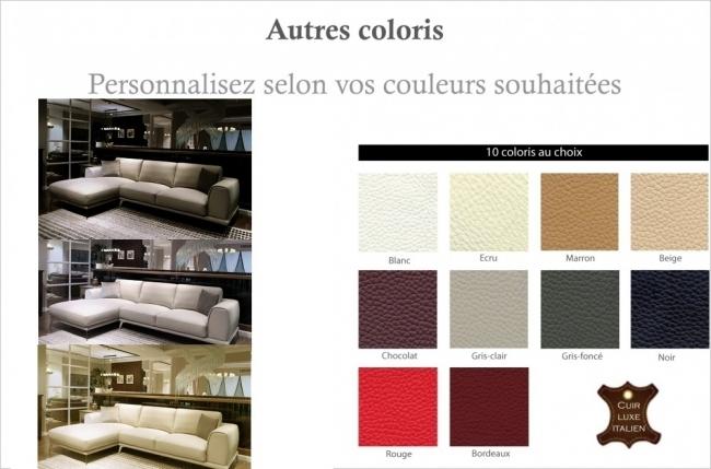 - canapé d'angle en cuir italien 7/8 places enzo, couleur personnalisée, angle gauche
