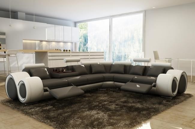 Canap d 39 angle en 100 cuir italien 7 places excelia noir et blanc mo - Canape cuir 7 places ...