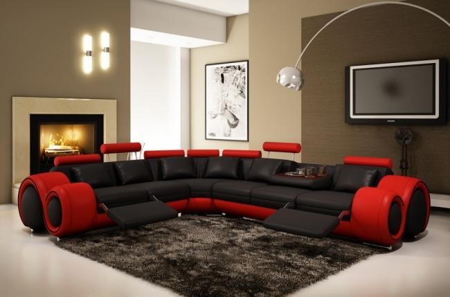 canapé d'angle en cuir italien 5/6 places petit excelia, noir et rouge, angle gauche