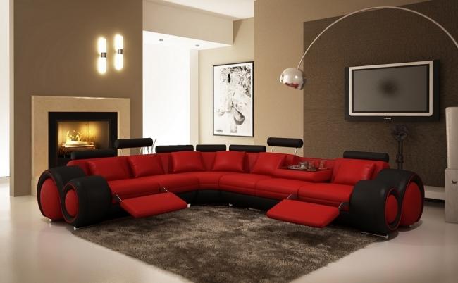 - canapé d'angle en cuir italien 5/6 places petit excelia, rouge et noir, angle gauche