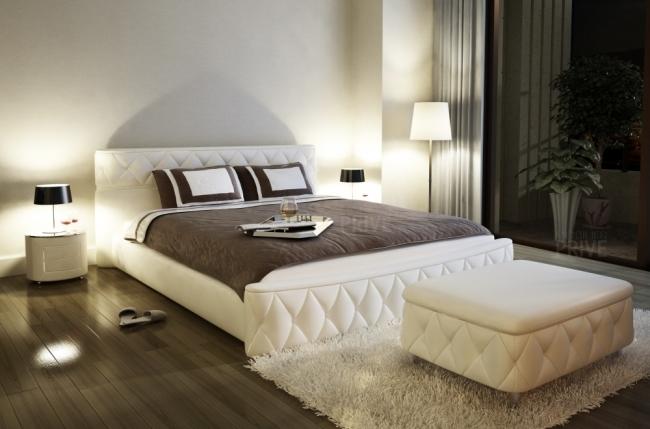 lit en cuir italien de luxe farniente cru mobilier priv. Black Bedroom Furniture Sets. Home Design Ideas
