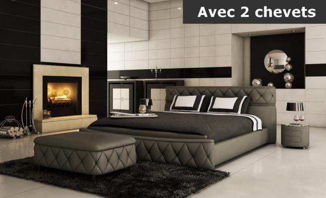 lit en cuir italien de luxe farniente 180x200, gris foncé. et 2 chevets dory