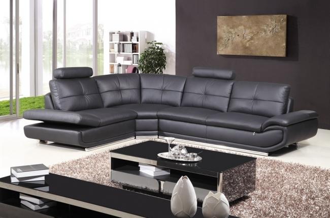 canapé d'angle, qualité luxe 6/7 places bellastar, noir, angle gauche