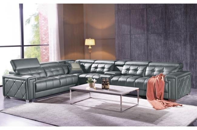 canapé d'angle en cuir de buffle italien de luxe 6/7 places, prestigia, gris foncé, angle gauche