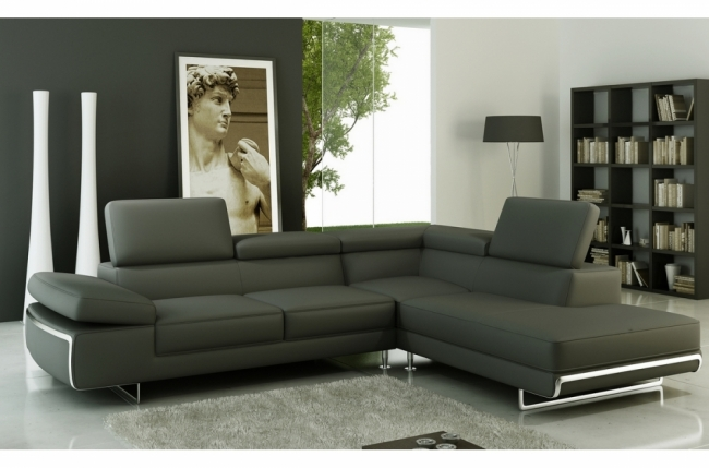canap d 39 angle en cuir italien 5 6 places varga gris fonc taupe mobilier priv. Black Bedroom Furniture Sets. Home Design Ideas